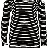 River Island Women's Black Stripe Cold Shoulder Top ($64)