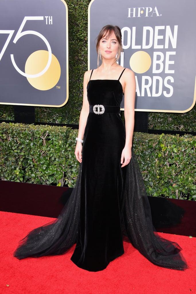 Dakota Johnson Gucci Dress at the Golden Globes 2018 | POPSUGAR Fashion