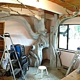 He then applied concrete for the trunk and paper mache for the branches.