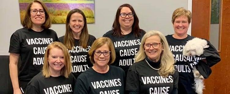 Pediatrician Office Staff Wears Pro-Vaccine Shirts