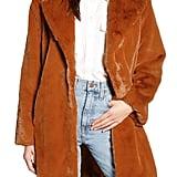 Something Navy Faux Fur Teddy Coat