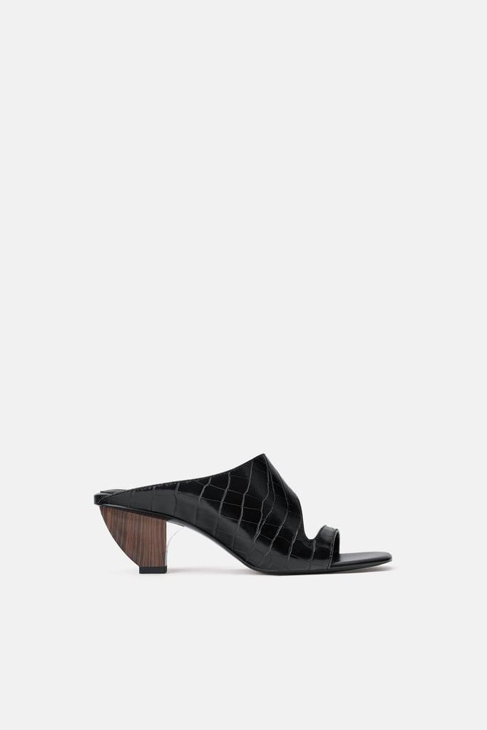 Zara Animal Print Geometric Heeled Mules