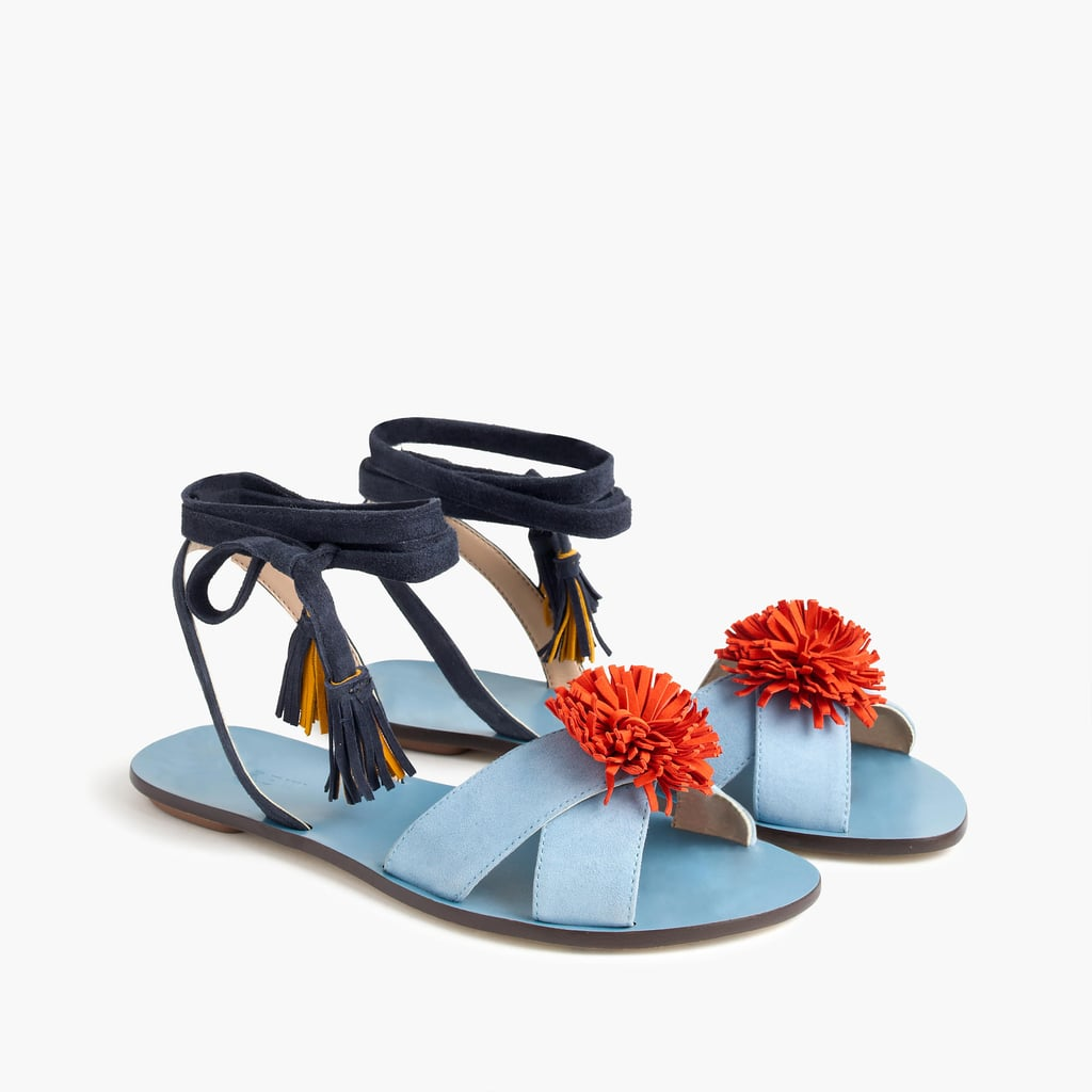 J.Crew's Lace-Up Suede Sandals With Pom Poms ($128) come in the perfect colorway with a rope tie at the ankles to ground you.