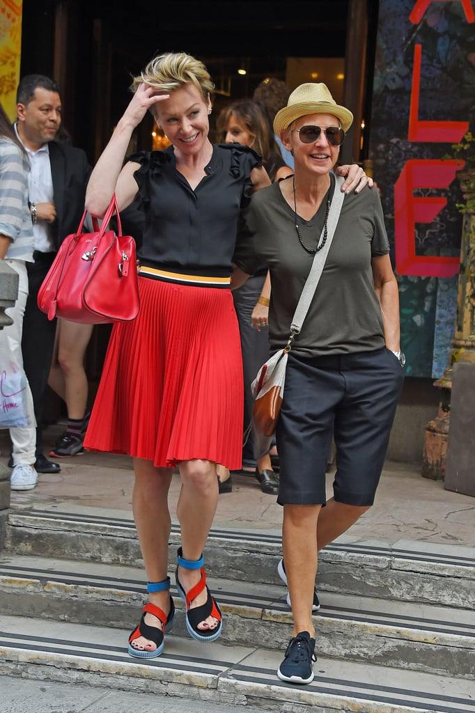 Ellen DeGeneres and Portia de Rossi stayed close in NYC on Thursday.