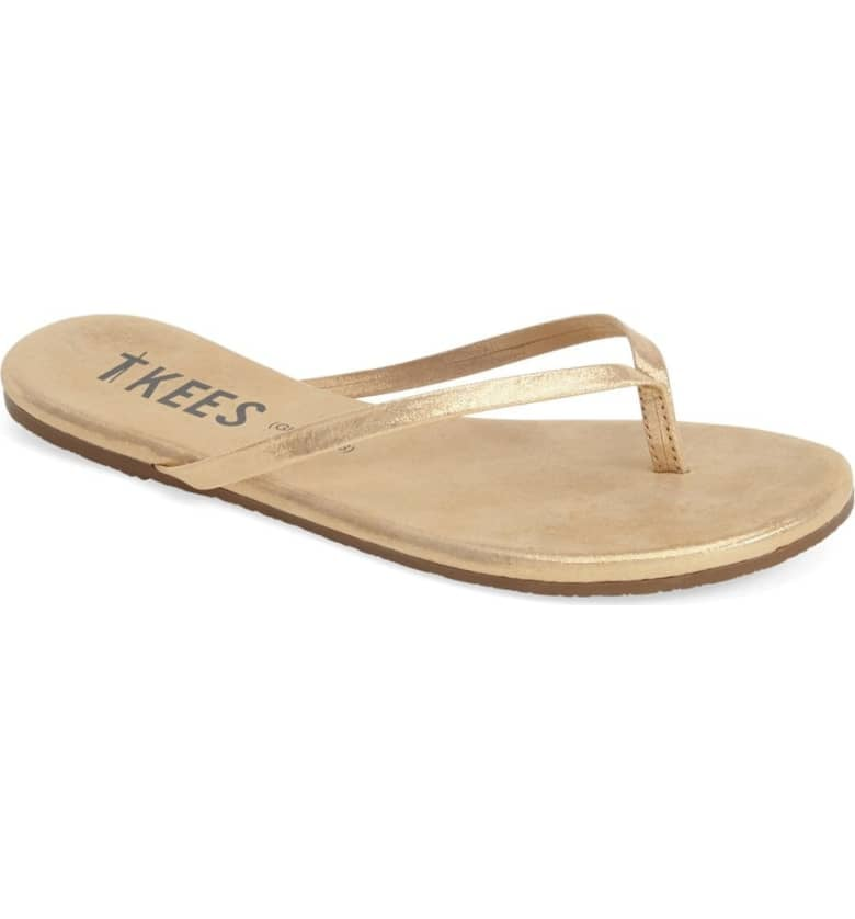 On The Other End Of The Spectrum, A Pair Of Metallic Gold Flip-Flops  Best Trends -3364