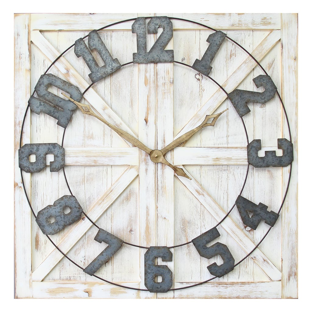 Stratton Home Decor White Rustic Farmhouse Wall Clock