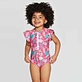 Toddler Girls' Short Sleeve Hawaiian One Piece Swimsuit