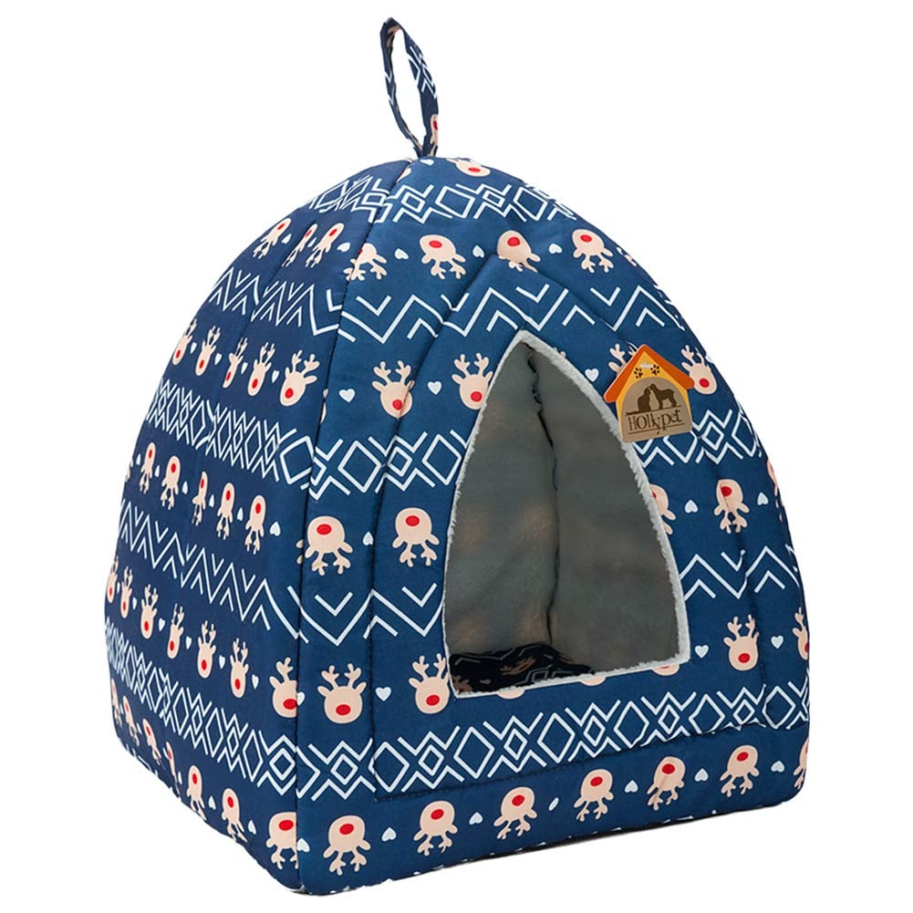 Hollypet Self-Warming 2-in-1 Cat Bed — Blue Reindeer Pattern