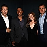 Alec Baldwin posed for a photo with Peter Ramsey, Isla Fisher, and Chris Pine.