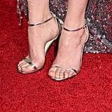 Dakota Opted For Metallic Jimmy Choo Sandals
