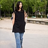 The next time you think about wearing your LBD, consider giving it the model treatment (like Jihye Park did) with a pair of wide leg jeans and slides.