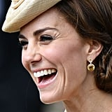 Kate is known for her love of Kiki McDonough citrine earrings, but she showcased her latest beauties on a trip to Northern Ireland. The Eden Diamond Flower Drop Earrings are originally made from lemon quartz and sold for $3,606, but Kate's were customized with citrines.