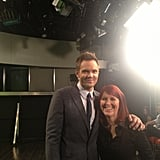The Office's Kate Flanagan hung out with Joel McHale while filming The Soup. Source: Twitter user joelmchale