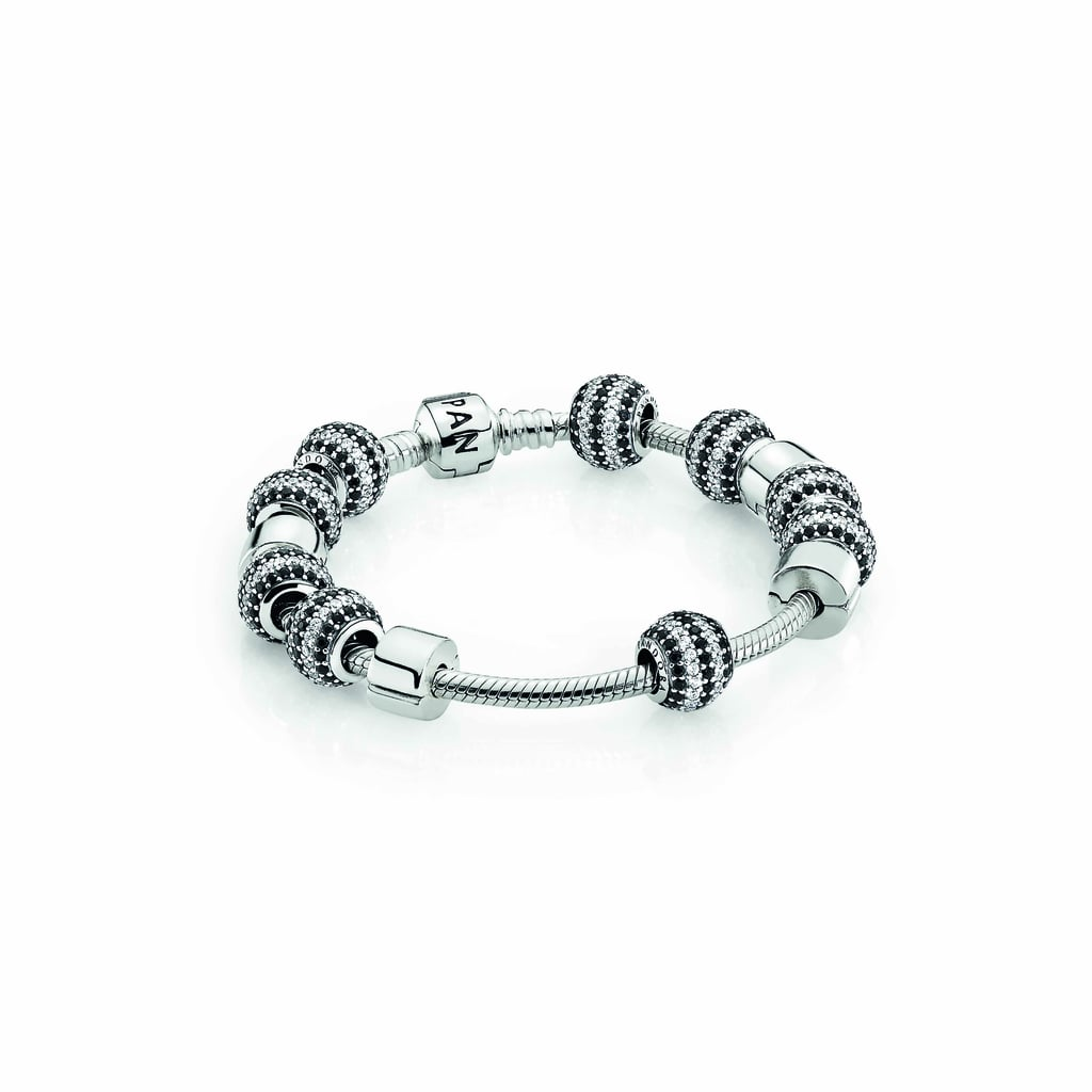 Sterling silver bracelet, $89, striped pavé charms, $69 each, and sterling silver clips, $39 each.