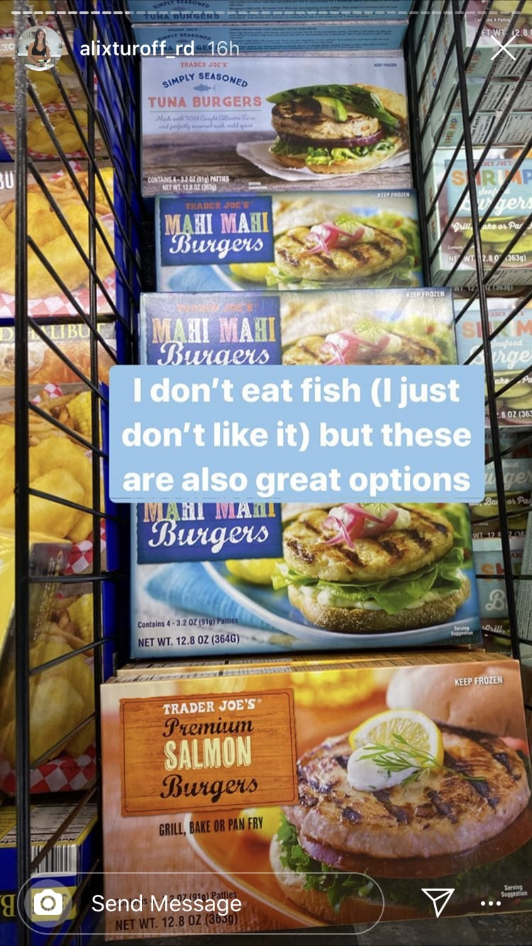 A Note On Tj S Shrimp Tuna Mahi Mahi And Salmon Burgers Check Out This Dietitian S Frozen Food Grocery Haul From Trader Joe S Popsugar Fitness Photo 8