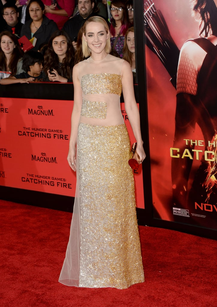 Jena Malone wore a gold gown.