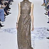With Dior's consistent delivery of red carpet-worthy gowns, we can imagine Melania choosing only the best of the best. The collar on this glittery number is a modest touch, in keeping with her sophisticated wardrobe.