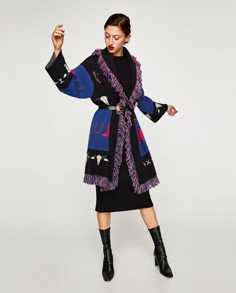 Zara Jacquard Coat With Fringe