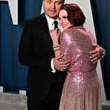 Nick Offerman and Megan Mullally at the Vanity Fair Oscars Party