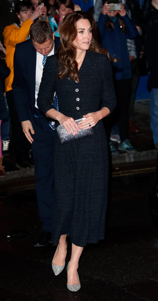 Kate Middleton's Glitter Heels Adds the Wow Factor to Her Modest Little Black Dress