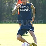 David Beckham at practice with the LA Galaxy.