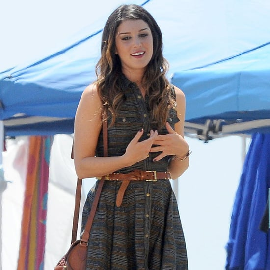 Shenae Grimes Wearing Striped Shirtdress (90210)
