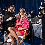 Alessandra Ambrosio was backstage at the Victoria's Secret Fashion Show.