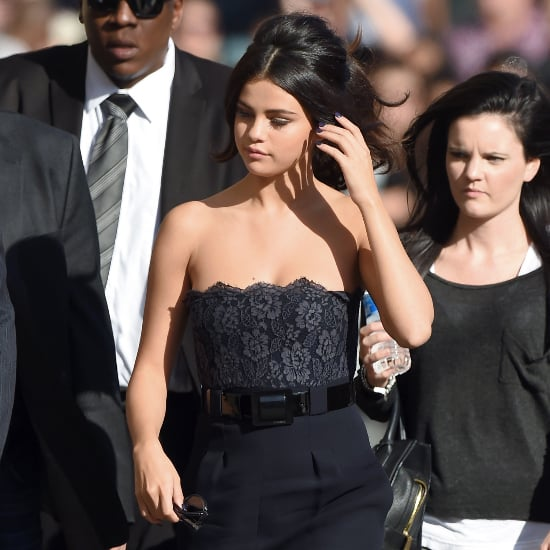 Selena Gomez Strapless Navy Dress