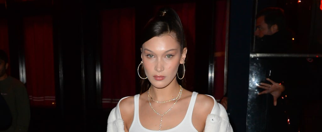 Bella Hadid Wearing White Fluffy Jacket