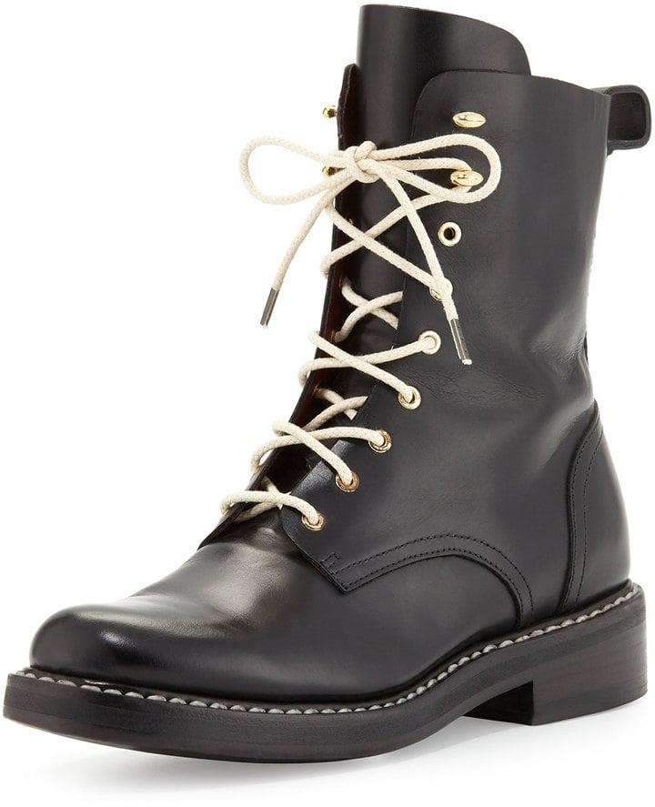 Rag and Bone Emil Leather Combat Boot, Black ($325, originally $650)
