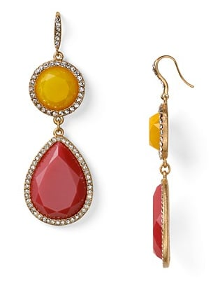 Aqua Large Yellow and Pink Stone Drop Earrings ($40)