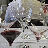 Note the difference in shape of the Cabernet glass (left) versus the Pinot Noir glass (right).
