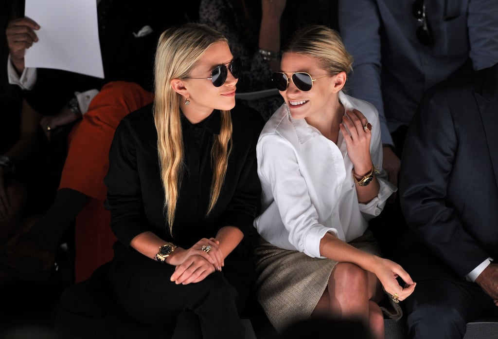 Pictures of Mary Kate and Ashley Olsen sitting Front Row at J.Mendel New York Fashion Week in Aviator Sunglasses
