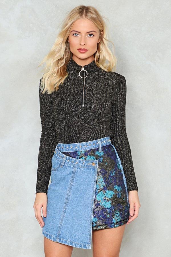 Nasty Gal Get Even Asymmetric Denim Skirt