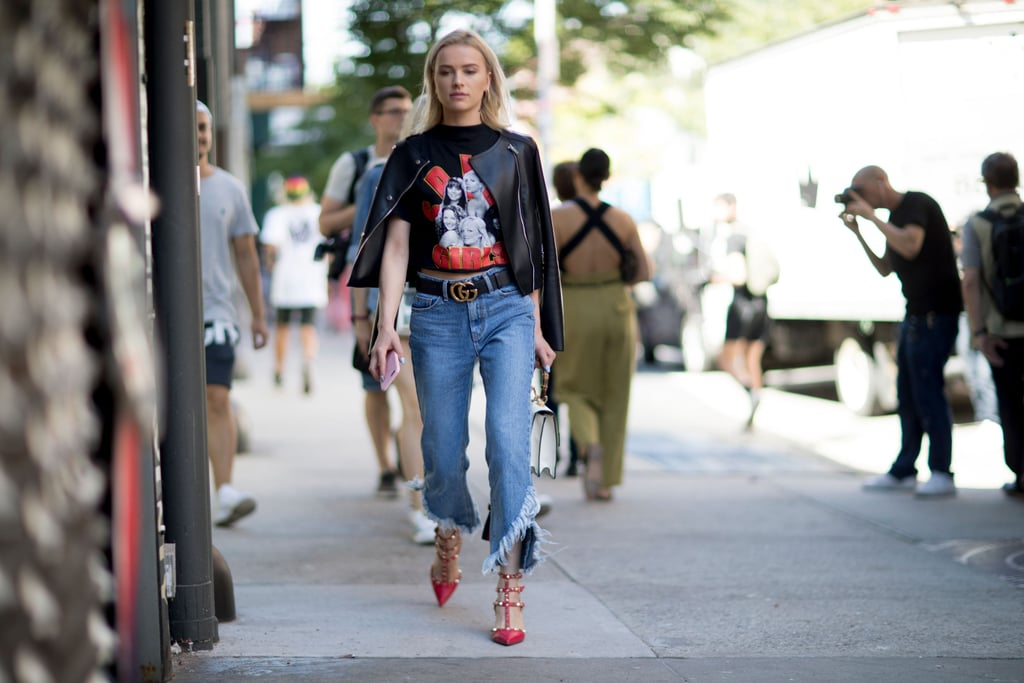 Match Your Shoes to Your Graphic Tee and Top Things Off With a Leather Jacket