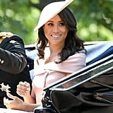 For her very first appearance at Trooping the Colour, Meghan opted for a stunning off-the-shoulder ensemble by Carolina Herrera.