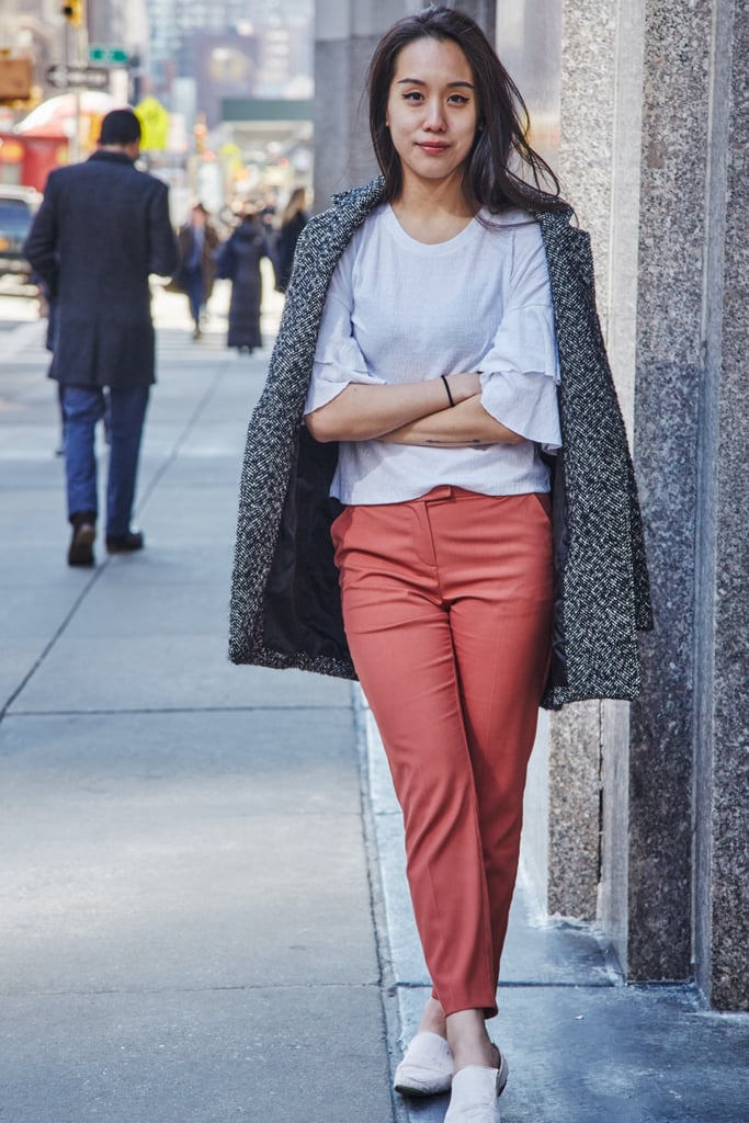 On Assistant Editor Marina Liao: Abercrombie & Fitch jacket, ASOS trousers, and Zara flats