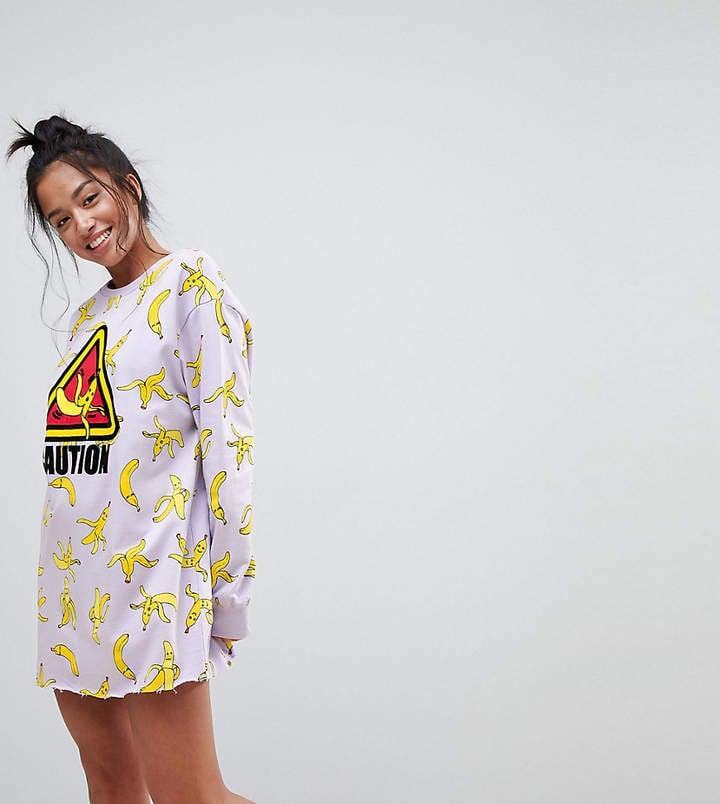 Asos Lounge Banana Caution Sweat Dress