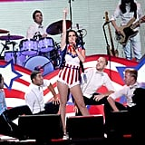 Decked out in red, white, and blue, Katy Perry performed for all the guests at the Kids' Inaugural event.