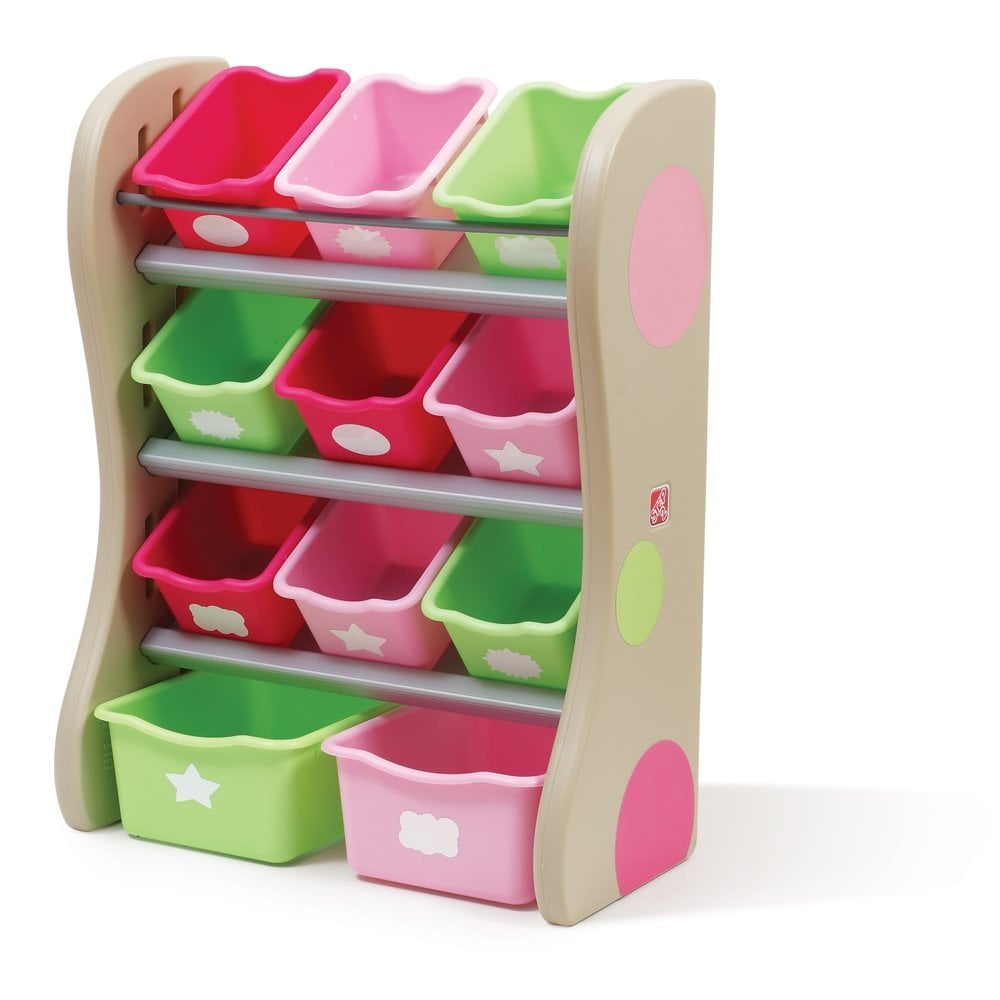 Storage Box Decorative Rainbow Container Kids Toys Organizer 4Bins - Purple, Pink, Blue Hair and Cloud Boxes for Shelves Lovely Little Things Unicorn Storage Bins Foldable Toy Box Collapsible Cube