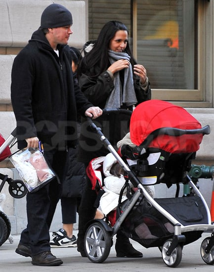 Pictures of Matt and Luciana Damon With Baby Stella in NYC