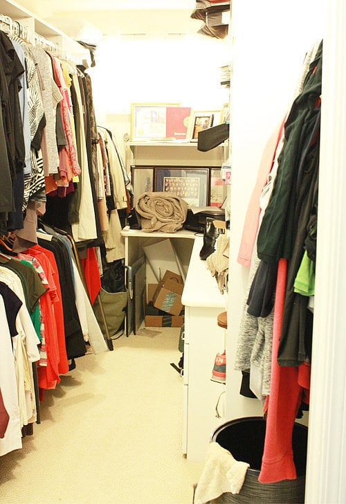 Here is a picture of my closet before the Dallas clean out. Sure, it wasn't super messy or ridiculously overcrowded, but over half of the contents didn't fit my current life.