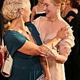 Legendary actresses Helen Mirren and Meryl Streep shared an A-list hug at the Golden Globes in January 2007.