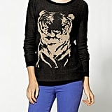 "Nothing screams ""ferocious"" like a giant tiger on your chest. Hive & Honey Animal Intarsia Crew Sweater ($59)"