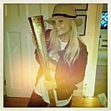 Emma Bunton posed with the famous Olympic torch.  Source: Twitter user EmmaBunton