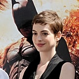Anne Hathaway wore a black dress for Christopher Nolan's hand and footprint ceremony in LA.