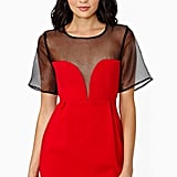 Nasty Gal Midnight Fire red sweetheart plunge-neckline dress with sheer black sleeves ($98)