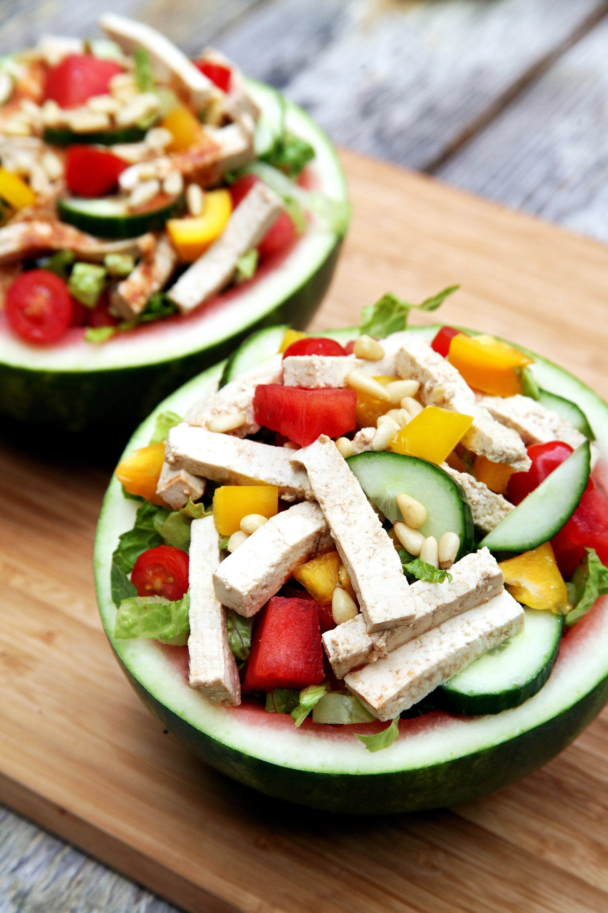 Ginger Tofu Watermelon Bowl Salad | No Cook Recipes With Refreshing Summer Flavors | Homemade Recipes