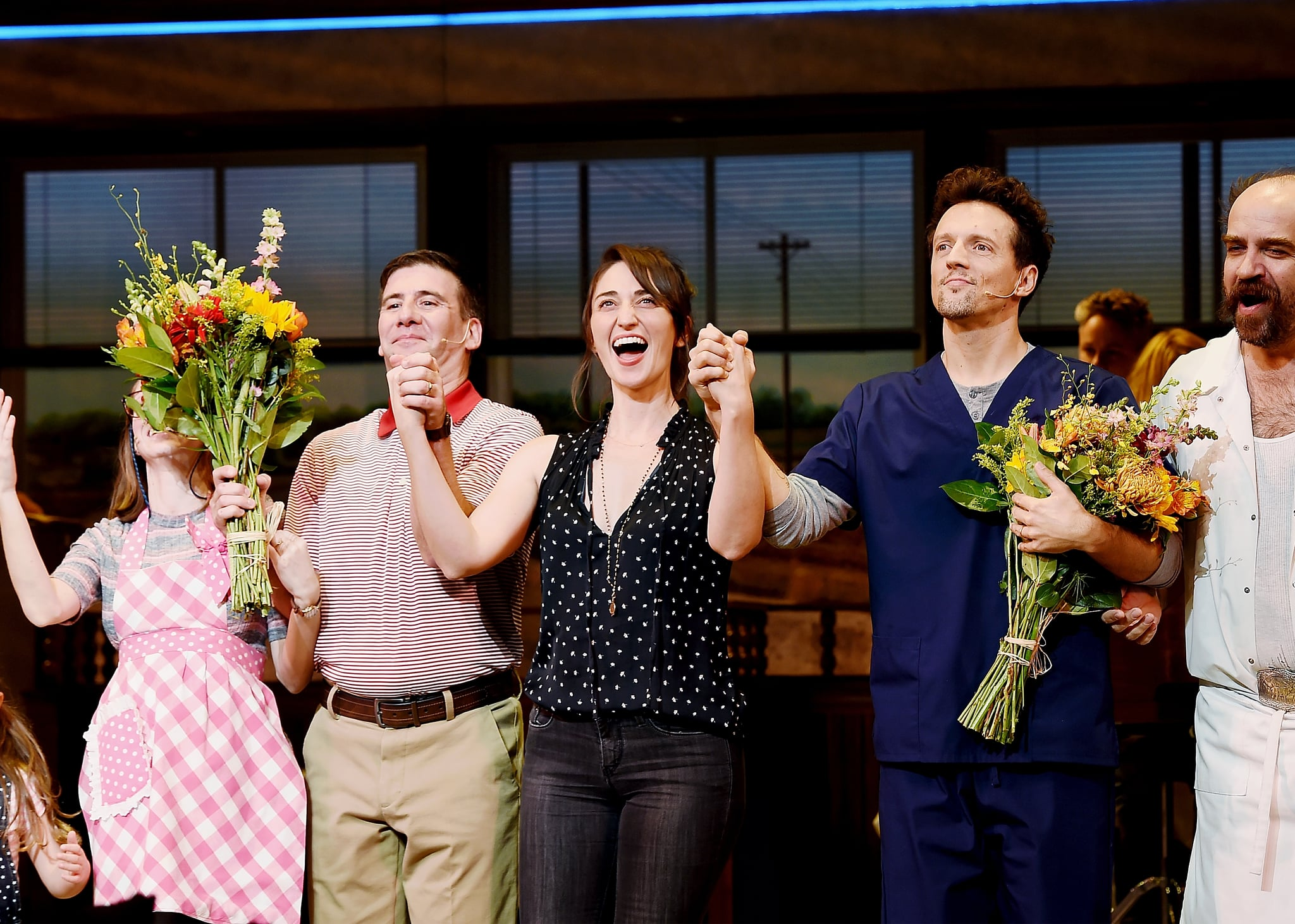 NEW YORK, NY - NOVEMBER 03:  David Josefsberg, Sara Bareilles and Jason Mraz take a bow at the curtain call of Broadway's