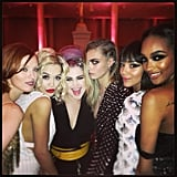 Kelly Osbourne held court with Rita Ora, Cara Delevingne, Karen Elson, and Jourdan Dunn. Source: Instagram user kellyosbourne